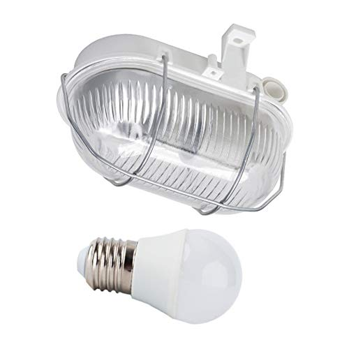 PureLed OVAL Kellerleuchte Kellerlampe Feuchtraumleuchte Grau inkl. LED E27 8W neutralweiß 4000K