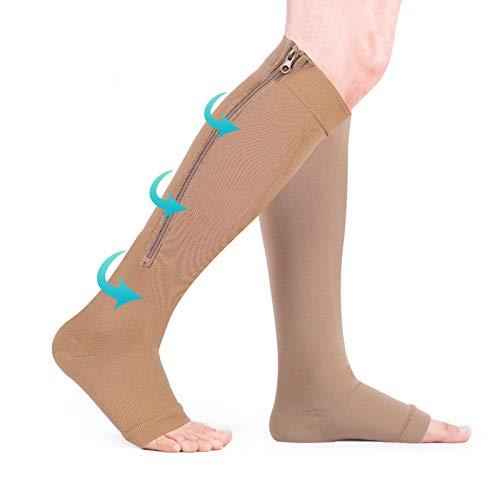 Haofy Calcetines de compresión para mujeres y hombres, medias de compresión, sin dedos, con cremallera en la pantorrilla, calcetines de compresión con gradiente médico de compresión(S/M-Piel)