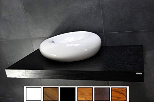 Carl Svensson Edler Waschtisch Waschtischplatte Waschkonsole Eiche mit Halterung WT-120 + WT-120H (WT-120H Schwarz mit Handtuchhalterung)