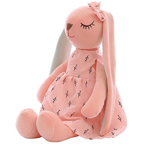 Stecto Lange Ohren Kaninchen Puppe, 35cm Kaninchen Lange Ohren Baby Plüschtier, Flauschiges Häschen Plüsch Hasen Spielzeug für Kinder Madchen Junge Kaninchen Schlafkamerad Gefülltes