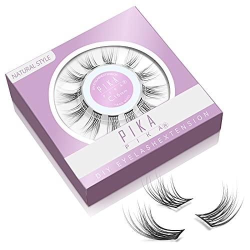 PIKAPIKA DIY Eyelash Extensions 12 Clusters Glue Bonded C Curl Natural Individual Lashes 10mm 12mm 14mm 16mm Fluffy Wispy False Eyelashes Set for Home Eyelash Extensions (Natural-12mm)