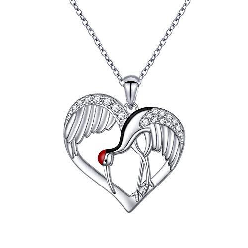 S925 Sterling Silver Crane Bird Heart Love Jewelry Pendant Necklace for Women