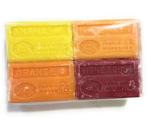 Label Provence - Lot de 4 savons de Marseille à l'huile d'olive BIO - Orange/Vigne Rouge/Ananas/Pamplemousse- 100gr x 4