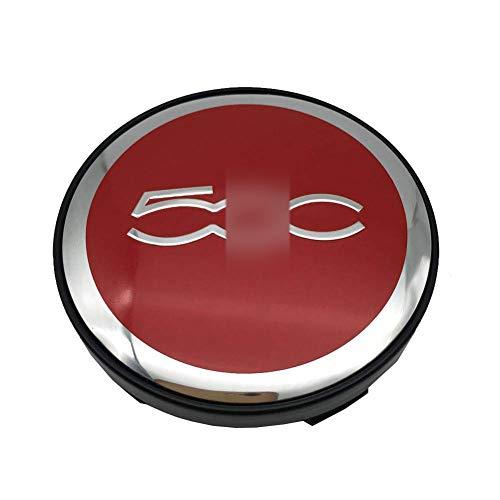 JYEBJD 4 Pezzi Cappucci Centrali delle Ruote Adesivo Distintivo 3D per Fiat 500, Coperture Antipolvere per Ruote Cover con Stemma Distintivo Adesivi Logo Wheel Trim Accessori