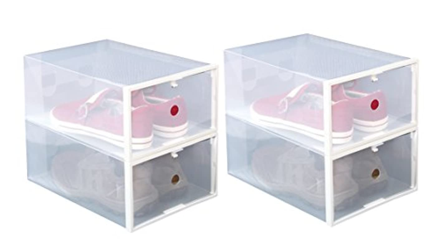 ITIDY Shoe-Boxes-Clear-Plastic,Shoe Box for Women and Men Size, Foldable Stackable Shoe Container, Closet Shelf Shoe Organizer, 4pk, Large Size, Clear with White Frame yakfaj1354943
