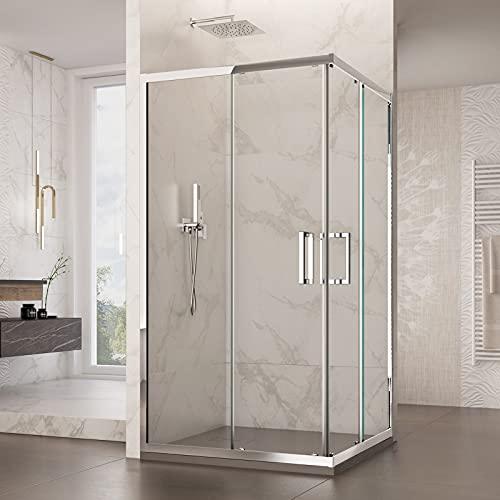 Mampara de ducha de esquina de alta calidad con 2 puertas correderas de cristal transparente 6 mm H195