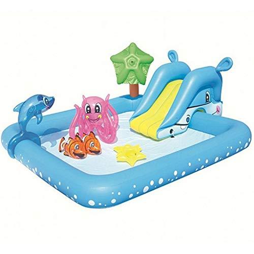 YUESFZ Aufblasbare Pools Große Kinder-Cartoon-Rutschenburg, Aufblasbares Schwimmspiel Von Meerestieren, Sprühbarer Delphin-Spielzeugballpool (Color : Blue, Size : 7.8ft)