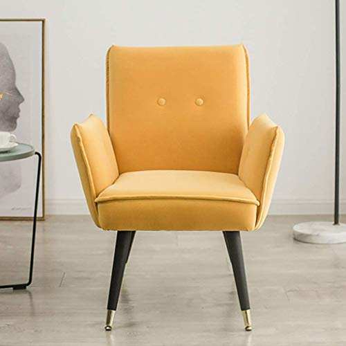 ZXL Modern Velvet Buttoned Upholstered Accent Chair Lounge Chair with Solid Wood Legs Dining Living Room Bedroom Office Lounge Reception Lovely Occasional Armchair Contemporary (Color : Yellow)