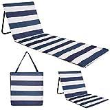 just be... Tapete de playa reclinable plegable para verano, portátil, ligero, silla de jardín, parque festival, picnic, tumbona, respaldo de rayas azules y blancas