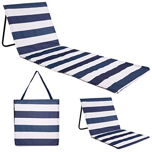 Just be... Tapis de plage inclinable / Chaise longue d'été portable et légère pour jardin, festival, pique-nique - Rayures bleues et blanches