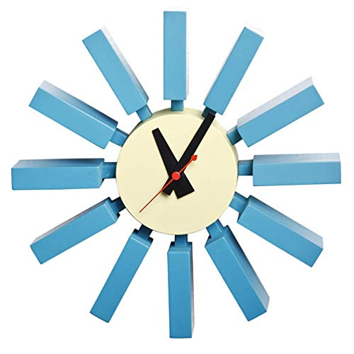 qwertyuio Wanduhr Nordic Nelson Design Sunburst Wanduhr,Nordic Classic 3D Star Burst Form Einzigartiger Typ,Kein Ticken Moderne Quarz Home Wall Decor Art Clock Für Schlafzimmer,30Cm/11,8'',B