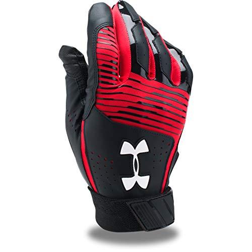 Under Armour Men's Clean Up Baseball Batting Gloves, Black (002)/White, Medium