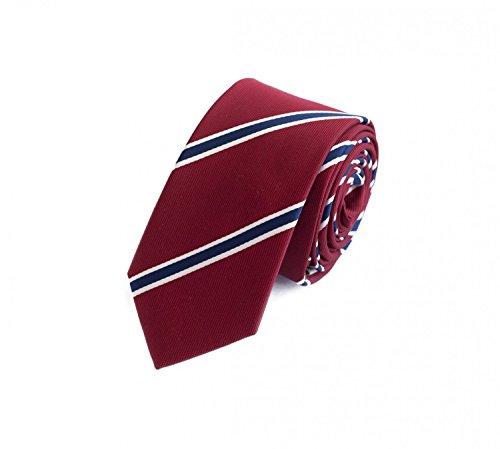 Fabio Farini Schlips Krawatte Krawatten Binder 6cm rotbraun blau weiß gestreift