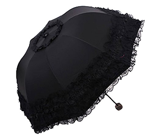 Gothic Parasol Lolita Black Princess Lace Parasol Umbrella Sun Rain Travel Umbrella Decoration Umbrella Photography Prop Umbrella Halloween Costume Accessories Triple Folding Black