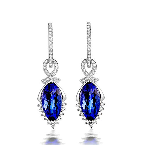Daesar Pendientes Oro 14K Blanco Mujer,Oval Marquesa Tanzanita Azul 4.97ct Diamante 0.4ct,Plata Azul