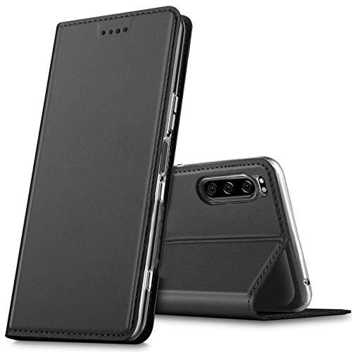 Verco Handyhülle für Xperia 5, Premium Handy Flip Cover für Sony Xperia 5 Hülle [integr. Magnet] Book Case PU Leder Tasche, Schwarz