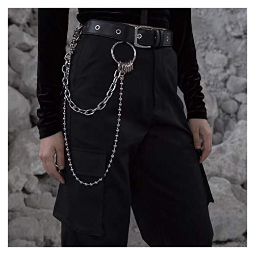 DSKLM Fashion personality Punk double trouser chain for stylish rock waist hanging long wallet key chain ring clip key ring Clothes Accessories (Color : Silver)