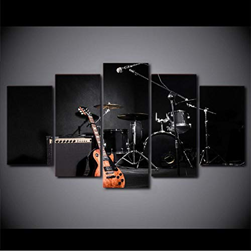 Gwgdjk Bilder Musik-Gitarren-Trommel-Instrumente Vlies Leinwandbild 5 Tlg Kunstdruck Modern Wandbilder Xxl Wanddekoration Design Wand Bild-40X60/80100Cm,Without Frame