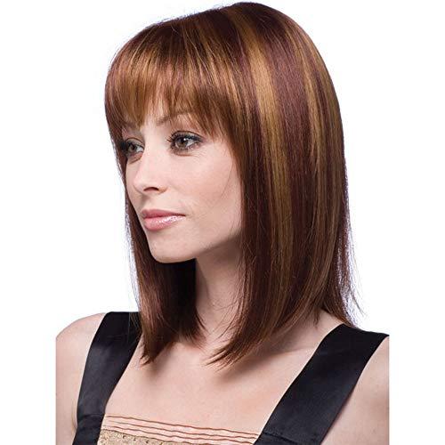 Fleurapance - Pelucas cortas para mujer, estilo bobo, estilo bobo, tamaño mediano, largo, rubio recto, resistente al calor, sintéticas como pelo humano real