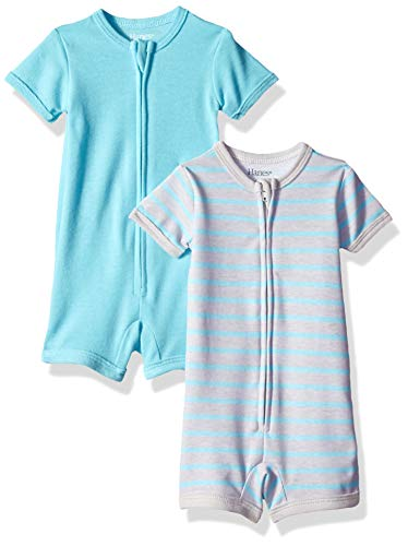 Hanes Ultimate Baby Zippin 2 Pack Rompers, Blue Stripe, 12-18 Months