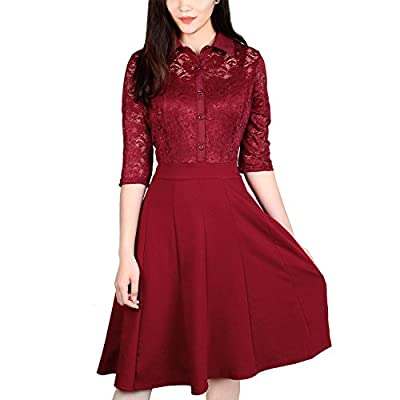 Lace Dress, Vitalismo A-line Knee Length Half Sleeve Cocktail Party Dress