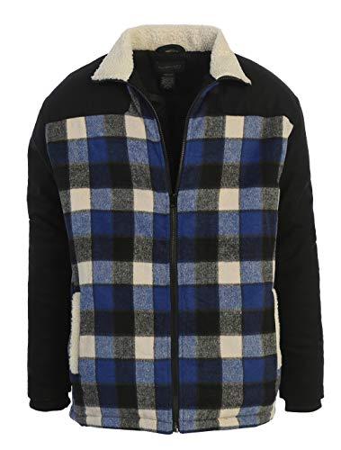 Gioberti Mens Full Zip Wool-Like Plaid Jacket with Warm Cozy Inner Padding and Sherpa Collar, Royal Blue, XL