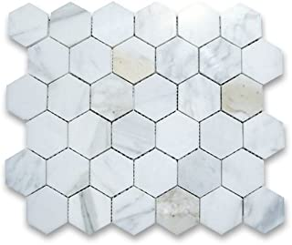 Calacatta Gold Italian Calcutta Marble Hexagon Mosaic Tile 2 inch Polished