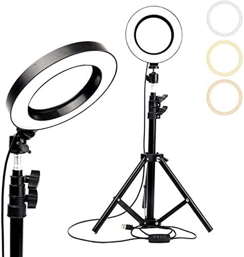 6 2 Luz de Anillo LED con trípode Soporte y Soporte de teléfono Anillo de Maquillaje Regulable 3 Modos de luz y 12 Niveles de Brillo para transmisión en Vivo y Video de Youtube (actualización)