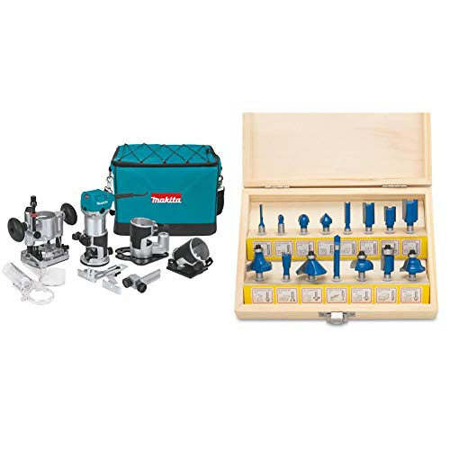 Makita RT0701CX3 1-1/4 HP Compact Router Kit, Teal & Hiltex 10100 Tungsten Carbide Router Bits | 15-Piece Set