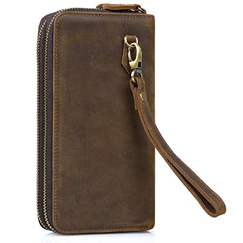 Wristlet Wallet,Jack&Chris Leather Clutch Wallet Double Zipper Card Cell Phone Holder RFID Blocking Purse for Men and Women, NM8058