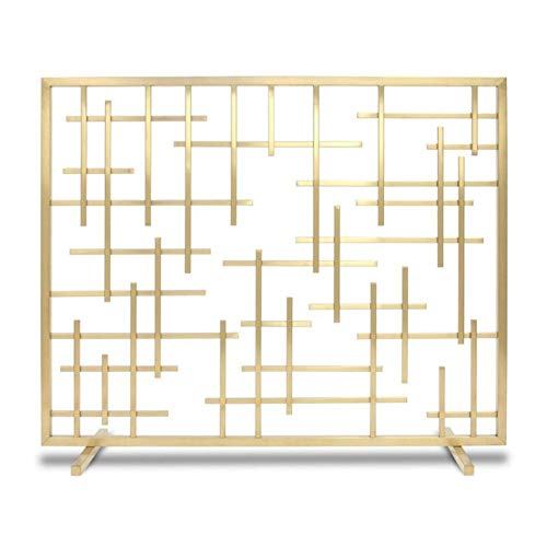 Fireplace Screens Large Panel Fireplace Screen, Modern Gas Fireproof Cover Simple Metal Mesh Screens 30 Inches Tall, Spark Guard for Living Room Bedroom (Color : Gold)
