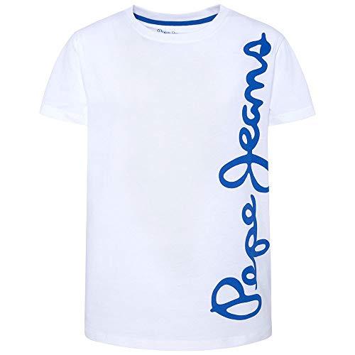 Pepe Jeans Waldo Short Camiseta, Blanco (Optic White 802), 6 años (Talla del Fabricante: 6) para Niños