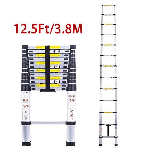 Telescoping Ladders,EN131Standards Multi-Purpose Folding Aluminum Extension Ladder(12.5Ft/3.8M)