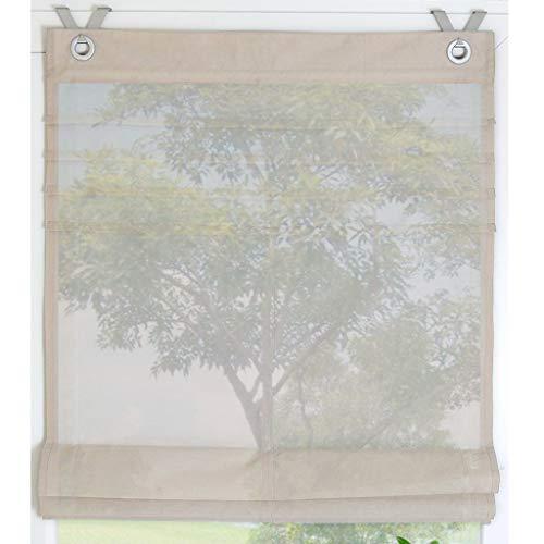 Estor de colour blanco y con ojales de estor Kessy tubería de cortina es 1er-Pack, poliéster, marrón claro, BxH 80*140cm
