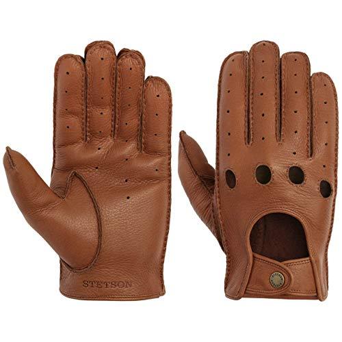 Stetson Convertible Deer Nappa Handschuhe Fingerhandschuhe Biker-Handschuhe Lederhandschuhe Herren - Frühling-Sommer - 8 HS braun