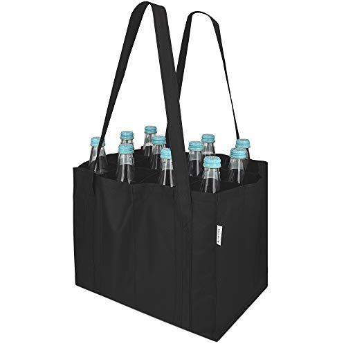 Navaris Bolsa portabotellas con 12 Compartimentos - Porta Botellas Plegable con 2X asa - Bolso botellero para Transporte de Vino Cerveza Agua - Negro