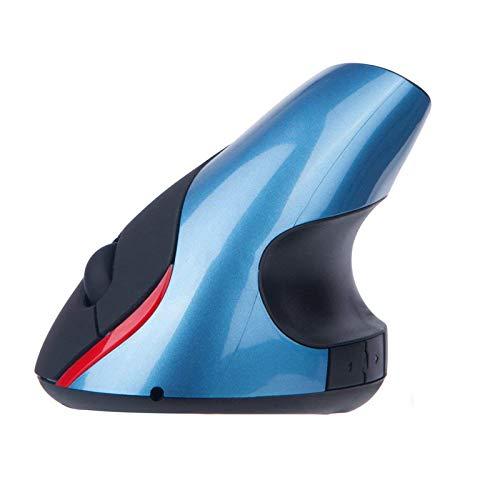 Mincheda 2.4 GHz WiFi Ratón Inalámbrico Ergonómico Recargable 5 Botones USB Mouse Óptico Forma Vertical Wireless Protege el Brazo (Azul)