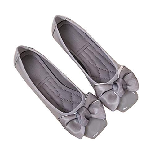 Frauen Ballerinas Schuhe Square Toe Bowknot Damen Elegante Komfortable Büro Mokassins