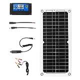Zootealy Kit de panel solar de 12 W y 12 V con regulador de carga, puerto USB, módulo de red monocristalino con cables de conexión SAE para caravana, barco, azul marino