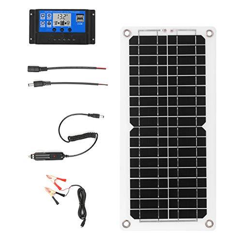 Zootealy Kit pannello solare da 12 W, 12 V, con regolatore di carica, porta USB, modulo di alimentazione monocristallino con cavi SAE per camper, barca, marina