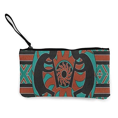 Monedero de lona con flauta india nativa americana, bolsa de cosméticos con cremallera pequeña, bolsa de teléfono móvil con asa