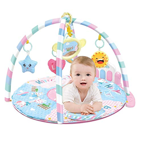 Baby Gym Toys & Activity Play Mat, Musical Infants Tummy Time Crawling Floor Playmat Kick and Play Newborn Mat with Piano Music Pedal and Fitness Rack with Hanging Toys (Multicolour, US Direct)