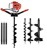 72cc Post Hole Digger Auger Petrol Drill Bit Earth Borer with 3 Bits 3 Extension Rods (4' & 8' & 12') Ultra Sharp Blades