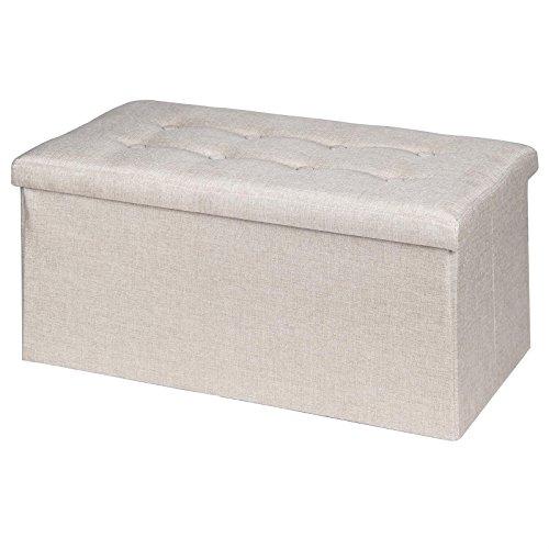 IDIMEX Sitzbank Sitzhocker Hocker Truhe Aufbewahrungsbox Camila, Leinenoptik in Natur/beige, faltbar mit Deckel