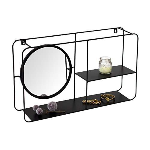 Wandregal rechteckig mit rundem Spiegel 55x16xH31cm Metall Schwarz Wandboard Hängeregal Metallregal