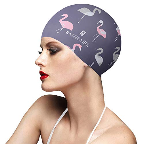 BALNEAIRE Silicone Swim Cap for Women, Waterproof Long Hair Swimming Caps Flamingo Print Grey