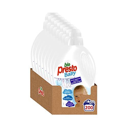 Bio Presto Liquido Baby, Detersivo Lavatrice Delicato per Bimbi - 8 x 25 Lavaggi (200 lavaggi)