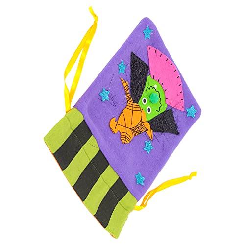 Bolsa De Dulces De Halloween, Bolsas De Regalo De Arpillera De Halloween Diseño De Mango Suave para Fiesta De Halloween Fiesta De Carnaval De Navidad Fiesta De Cumpleaños(Bruja Morada)