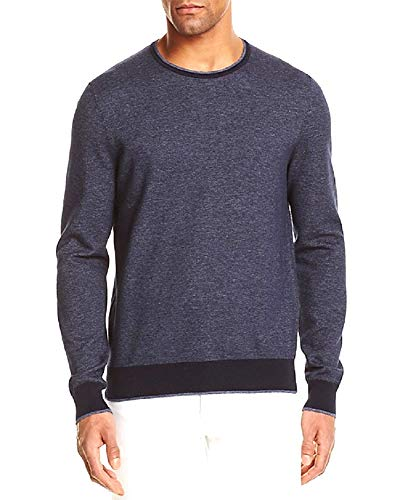 Bloomingdale's New Heather Navy Birdseye Knit Tonal Trim Crewneck Sweater Size S