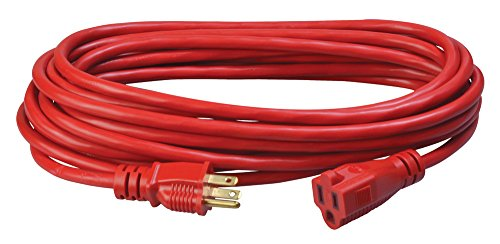 Coleman Cable 02407 14/3 SJTW Vinyl Outdoor Extension Cord, 25-Foot, Red
